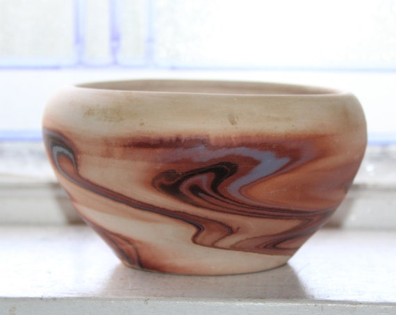 Vintage Nemadji Pottery Vase Bowl Brown Gray Swirls Southwestern Decor