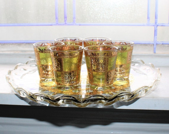 Mid Century Culver Glass Valencia 6 Shot Glasses & Tray 22K Gold