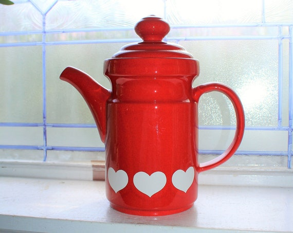 Vintage Coffee Pot Waechtersbach Red & White Hearts W Germany