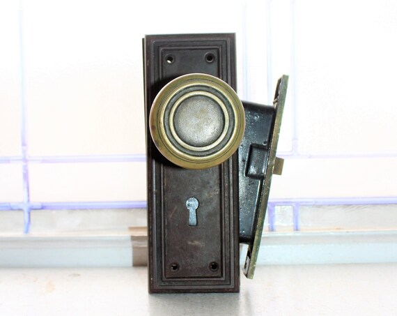 Antique Brass Doorknobs with Back Plates and Mortise Lock Early 1900s