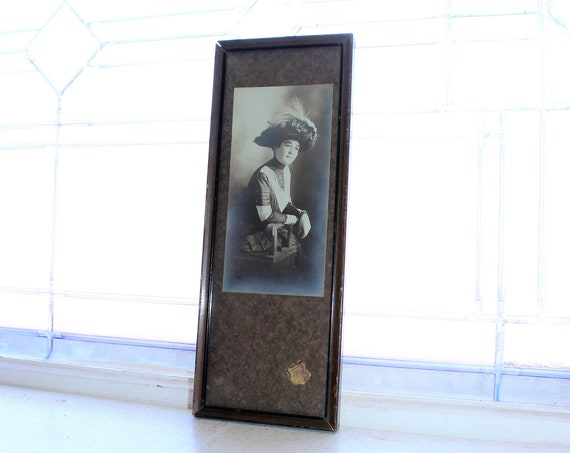 Antique Framed Photograph Victorian Woman with Big Hat 1910s