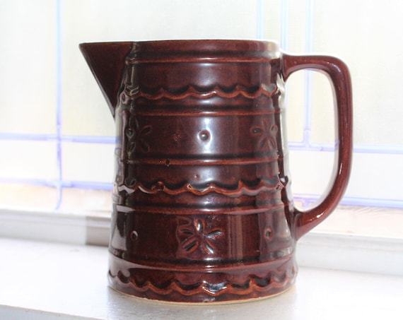 Marcrest Stoneware Brown Milk Pitcher Daisy and Dot Stoneware