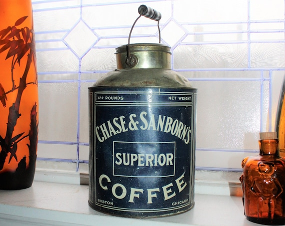 Large Antique Chase & Sanborns Coffee Tin with Bale Handle