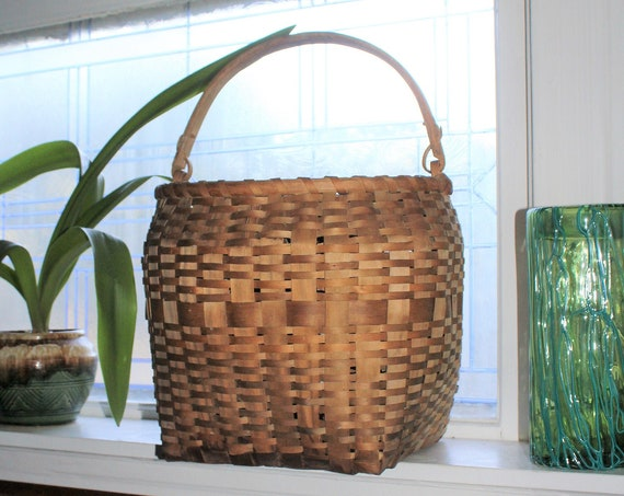 Large Vintage Basket Woven Rattan with Wooden Handle