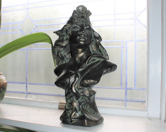 Antique Art Nouveau Cleopatra Plaster Chalkware Bust