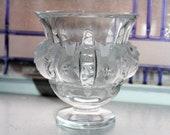 Vintage Lalique Crystal Dampierre Vase with Satin Birds and Vines