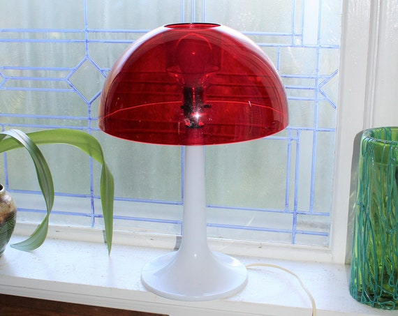Large 1970s Gilbert Softlite Mushroom Lamp Red and White Plastic