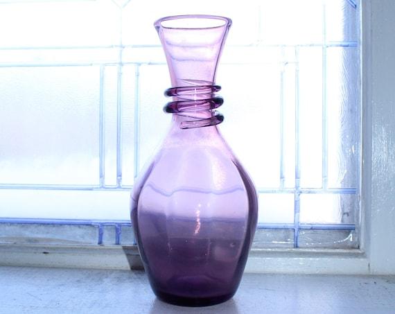 Purple Blenko Glass Vase with Applied Spiral Trim Vintage 1960s