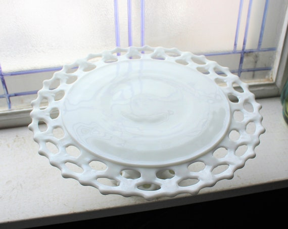 Vintage Milk Glass Lace Edge Cake Stand 1950s Wedding Decor