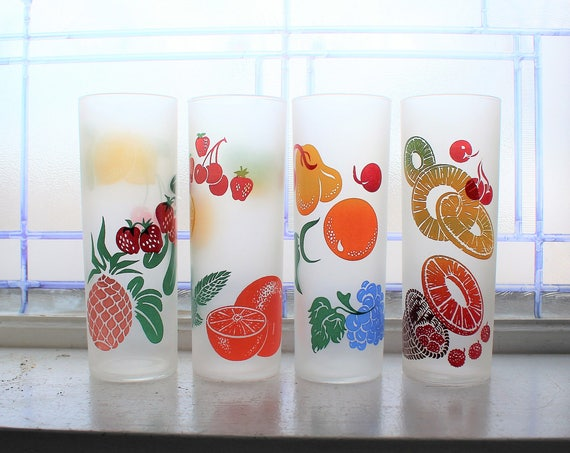 4 Vintage Tumblers Fruit High Ball Iced Tea Frosted Federal Glass