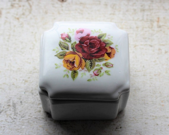 Vintage Porcelain Jewelry or Trinket Box with Roses Decoration