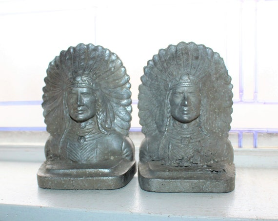 Antique Bookends Native American Indian Chief