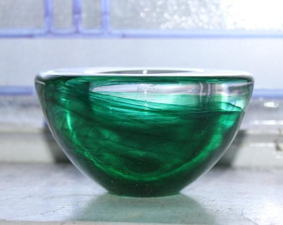 Kosta Boda Green Swirl Votive Candle Holder Vintage Glass