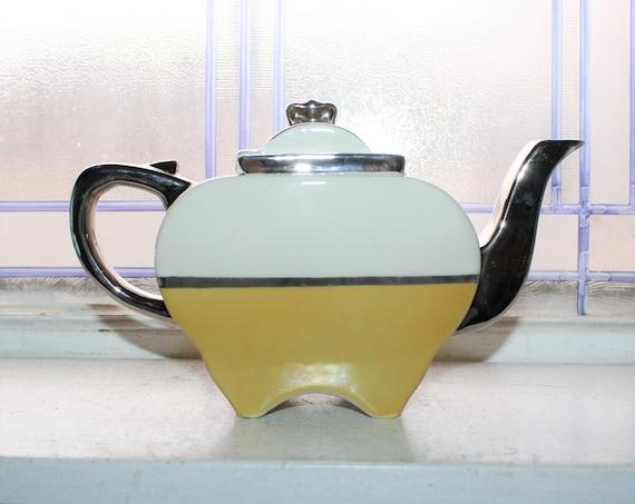 Vintage Art Deco Teapot Fraunfelter Yellow White and Chrome