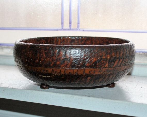 Antique Pyrography Bowl with Motto and Squirrel Burnt Wood Folk Art