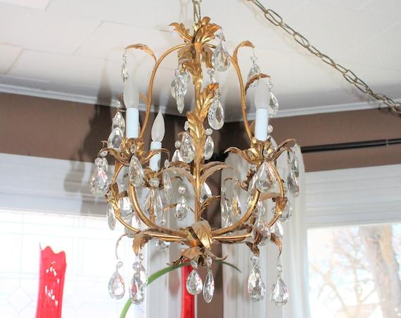 Hollywood Regency Chandelier Italian 4 Light with Gilt Leaves & Prisms