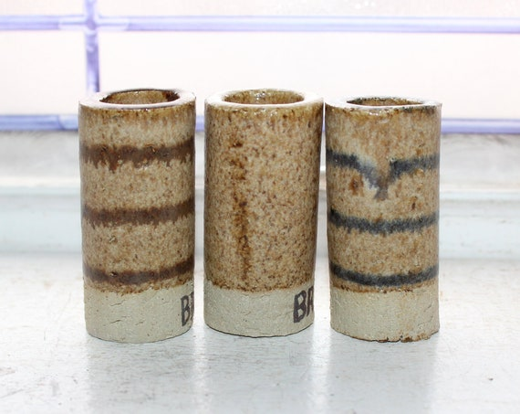 3 Vintage Pottery Glaze Sample Test Pieces Tubes Cylinders Napkin Ring