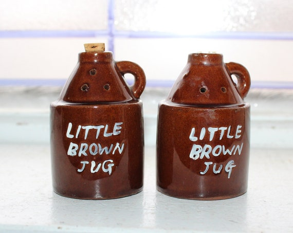 Vintage Little Brown Jug Salt and Pepper Shakers 1960s Kitsch