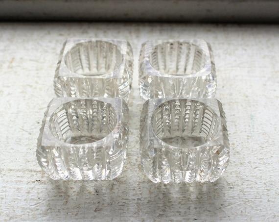 Antique Victorian Cut Crystal Glass Salt Dips Set of 4 1900s