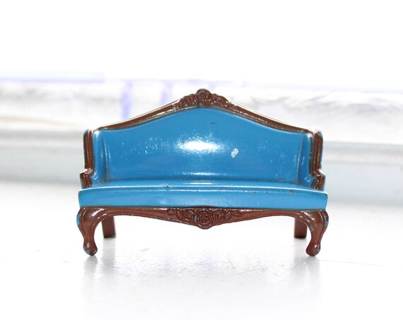 Dollhouse Furniture Mattel Couch Blue Metal Vintage Toy