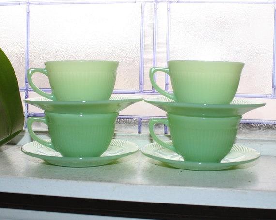 4 Vintage Jadite Jane Ray Coffee Cups & Saucer Sets 1940s