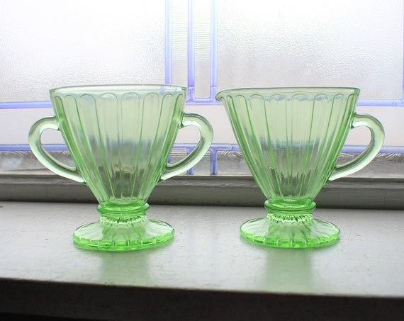 Green Depression Glass Sugar and Creamer Ribbon Vintage 1930s