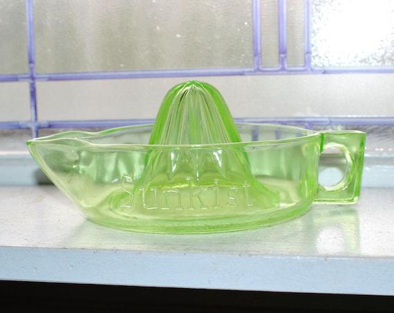 Vintage Sunkist Juicer Reamer Green Depression Glass Mckee