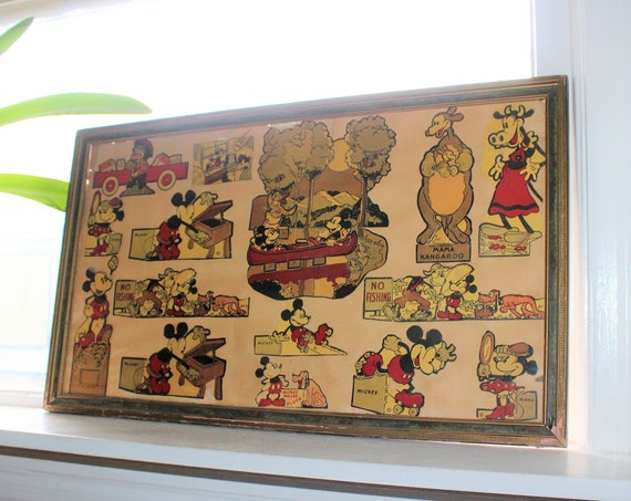 Vintage Disney Display Post Cereal Cut Outs 16 Pc 1930s Mickey Mouse