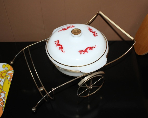Vintage Fire King Casserole Red Dragon Asian Decor with Rickshaw Stand