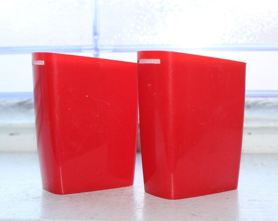 Mid Century Plastic Salt and Pepper Shakers Red White Vintage 50s