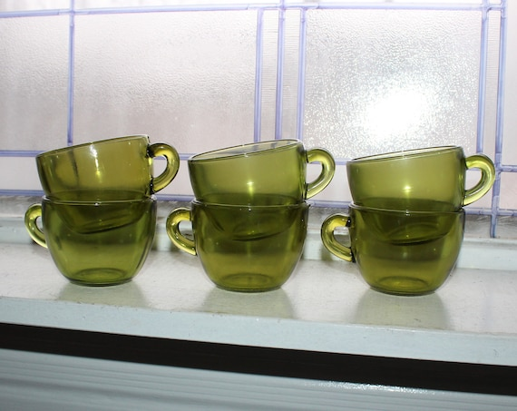 6 Vintage Avocado Green Glass Coffee Cups 1960s Retro