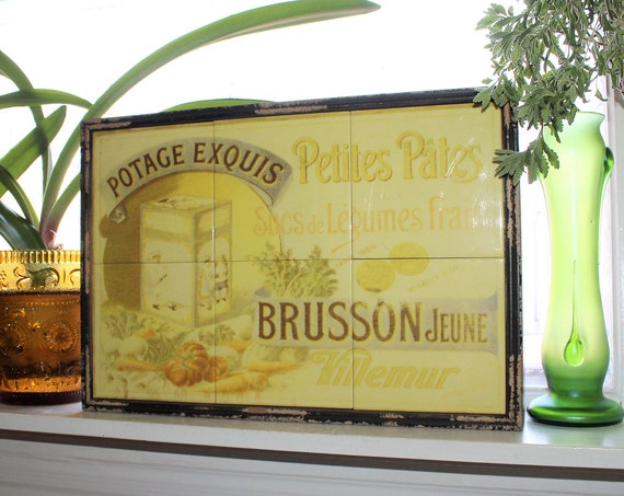 Vintage French Tiles Wall Hanging Country Cottage Kitchen Decor
