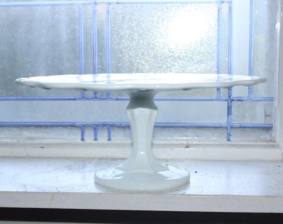 Vintage White Milk Glass Cake Stand Teardrop Pattern