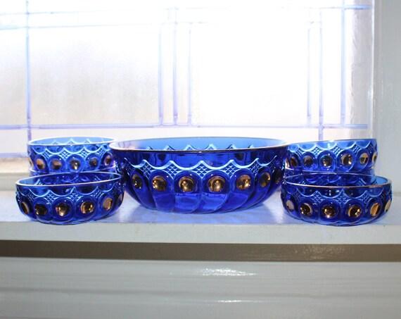EAPG US Glass Kings 500 Berry Bowl Set Antique Cobalt Blue 7 Pc Set