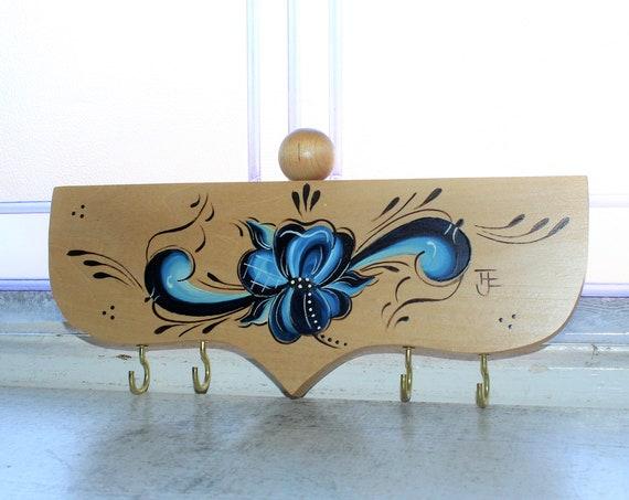 Vintage Rosemaling Wood Key Holder Norwegian Nordic Folk Art