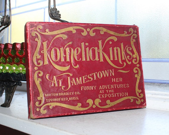Antique Toy Card Reading Game Kornelia Kinks at Jamestown 1907