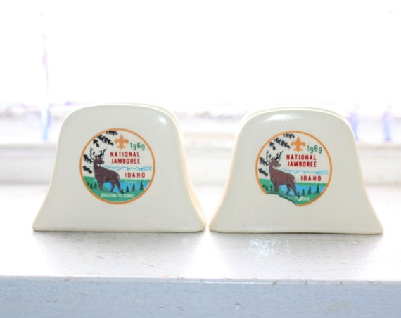 Vintage Salt and Pepper Shakers Boy Scouts Nat'l Jamboree 1969 Idaho