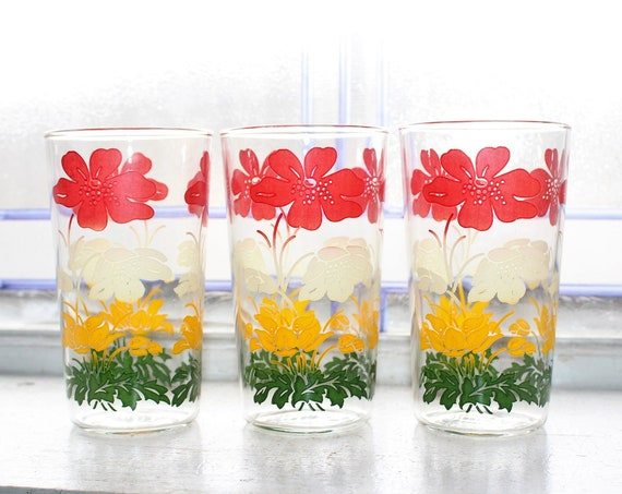 3 Mid Century Glass Tumblers Red White Yellow Green Flowers 1950s