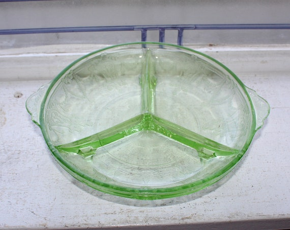 Green Depression Glass Divided Dish Cameo Ballerina Vintage 1930s