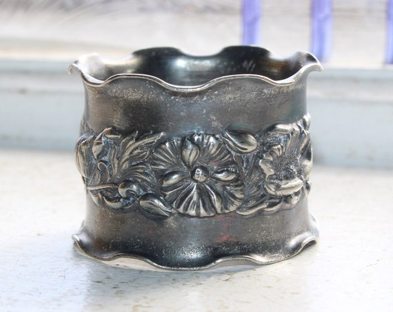 Antique Victorian Napkin Ring Embossed Flowers Silverplate