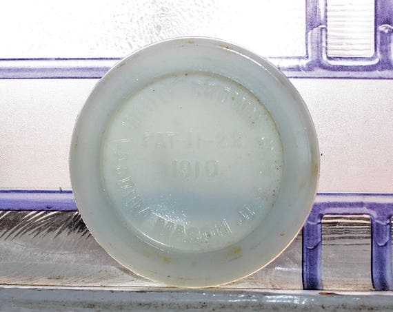 Antique White Crown Cap Milk Glass Mason Jar Cap Lid Insert 1910s