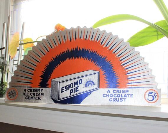 Large Eskimo Pie Cardboard Sign Stand Up Easel 27 Inch Vintage 1930s