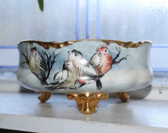 Antique JPL Limoges Footed Bowl Hand Painted Birds & Gilt Trim