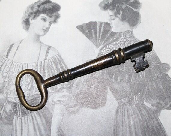 Antique Brass Skeleton Key 1800s Trunk Key Rustic Farmhouse Decor