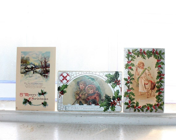 3 Antique Victorian Christmas Postcards Circa 1910s