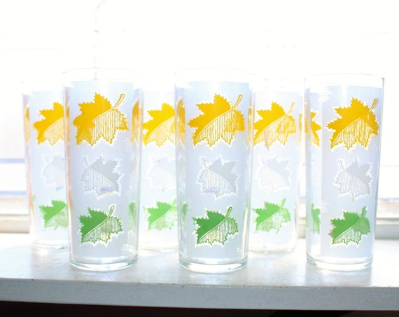 6 Vintage Mid Century Green Yellow Gray Leaves Glass Tumblers