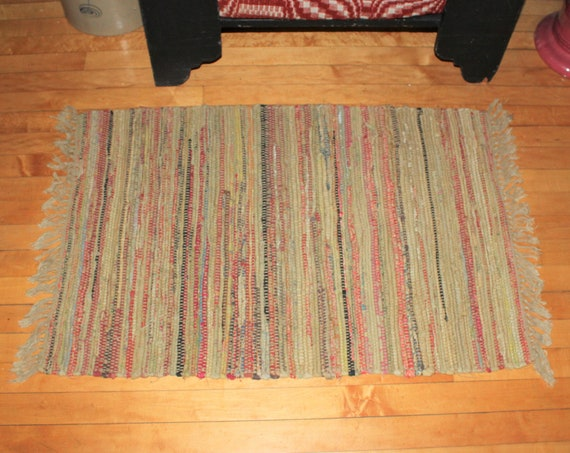 Vintage Country Rag Rug Hand Loomed Mustard Yellow 39 x 23