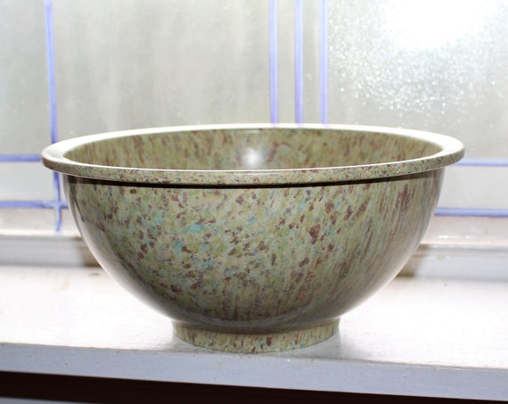 Vintage Texas Ware 118 Mixing Bowl 1950s Green Spatter Mid Century