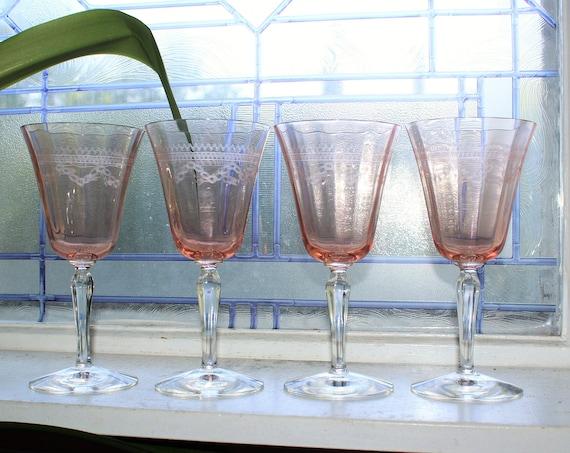 4 Fostoria Rose Pink Etched Wine Goblets Glasses Vintage Stemware