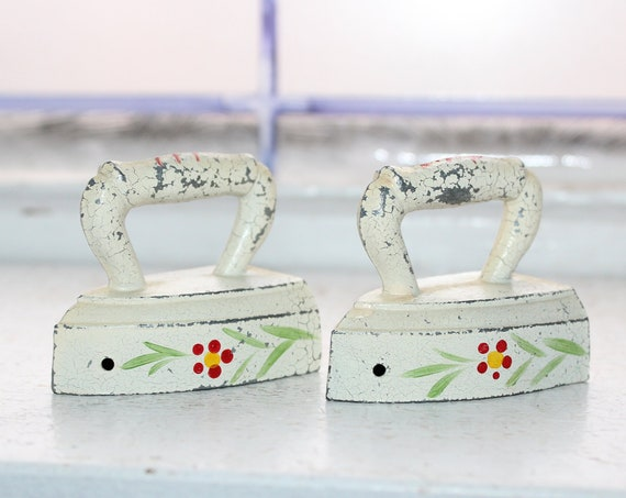 Vintage Salt and Pepper Shakers Hand Painted Sad Irons